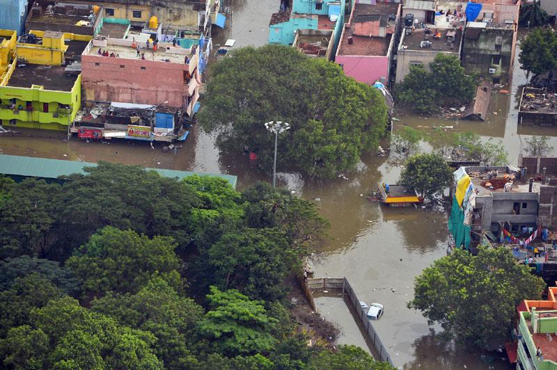 An aerial view of rain hit area in Chennai, Tamil Nadu on December 03, 2015.
