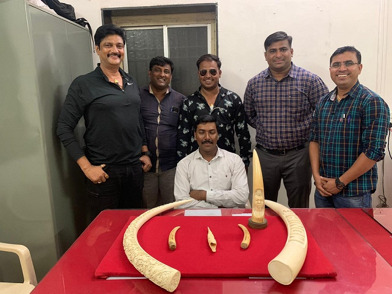 Pune Police Crime Branch team with seized elephant tusks and three teeth of other animals.