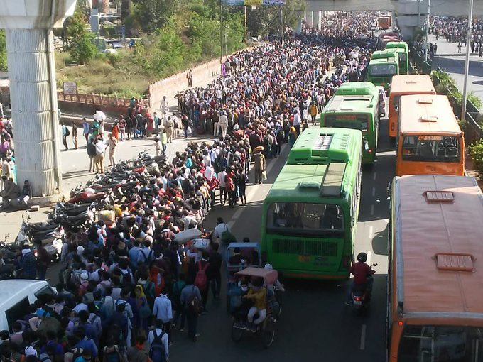 Anand Vihar bus stand in Delhi today.