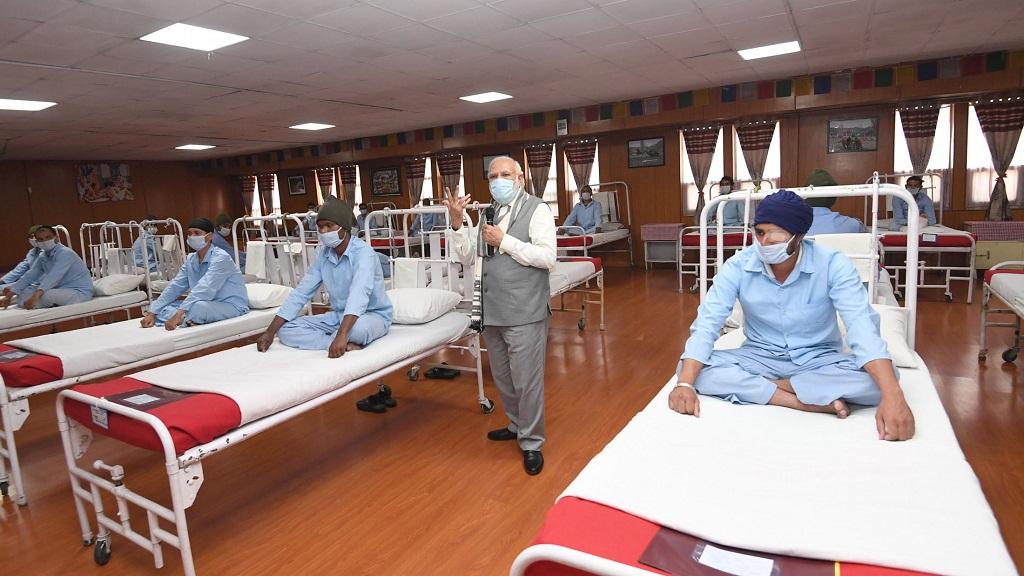 The Prime Minister, Shri Narendra Modi visits Army hospital, in Ladakh on July 03, 2020.