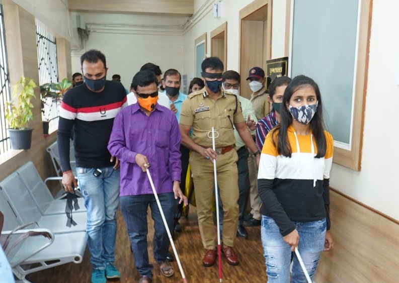 police commissioner with blind people